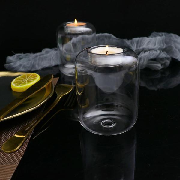 キャンドルホルダー2x Glass Voitive Tealightキャンドルホルダースタンド2
