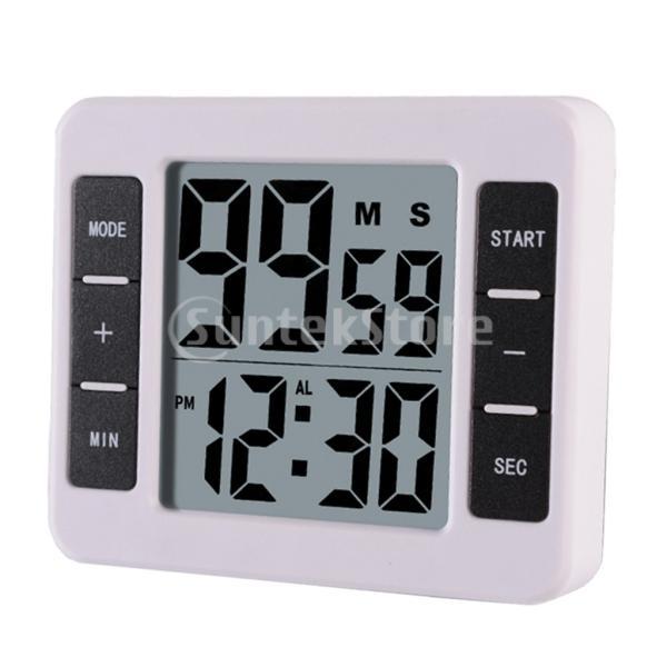 液晶デジタルキッチン調理タイマー付き目覚まし時計カウントアップタイマー stk-shop