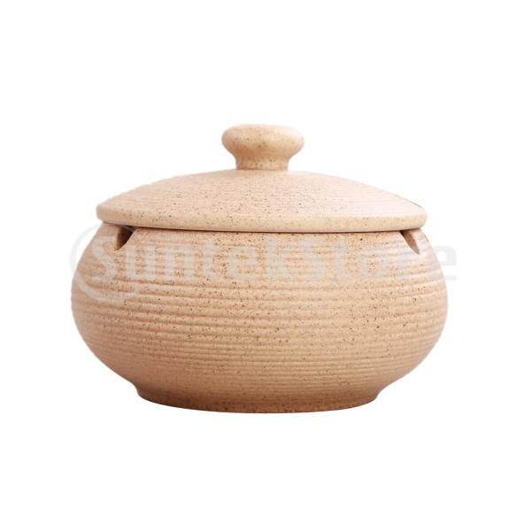 屋内屋外使用のための防風ふたが付いている陶磁器の灰皿ベージュ