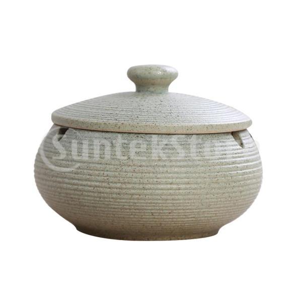 屋内屋外使用のための防風ふたが付いている陶磁器の灰皿ライトブルー