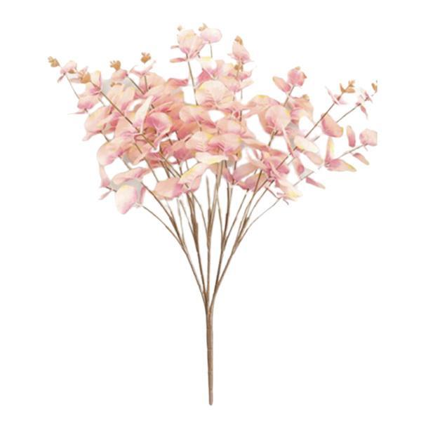 人工ユーカリの葉シルクシミュレーション葉束ピンク