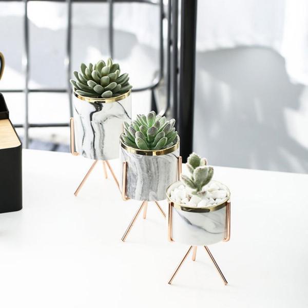 中 セラミック植木鉢 植木鉢スタンド付き屋内屋外植木鉢