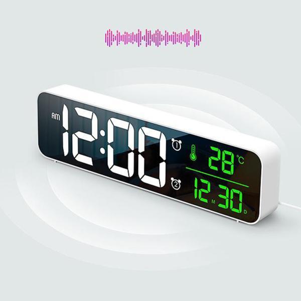 ホワイト デジタル時計大型ディスプレイ 目覚まし時計の寝室の机のデジタル大型ディスプレイ