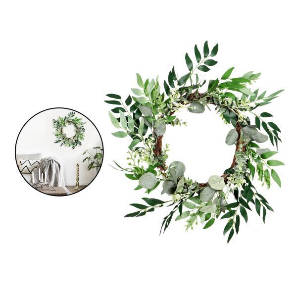 45cm 屋外の緑の葉の花輪 人工ユーカリリースフェイクグリーンの葉