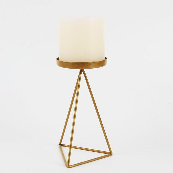 鉄の幾何学的なキャンドルホルダースタンド燭台バスルームの装飾ゴールデンL