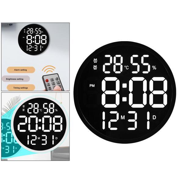 ルミナスデジタル壁掛け時計温度湿度表示時計黒