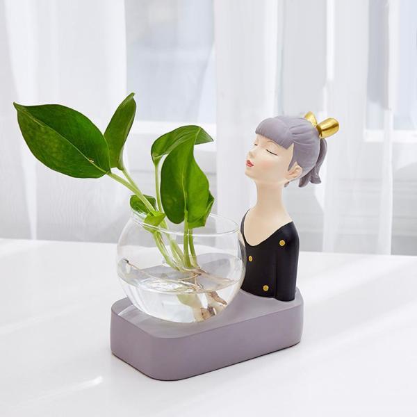 植物テラリウムLED置物ガラスプランター植物テラリウムブラック