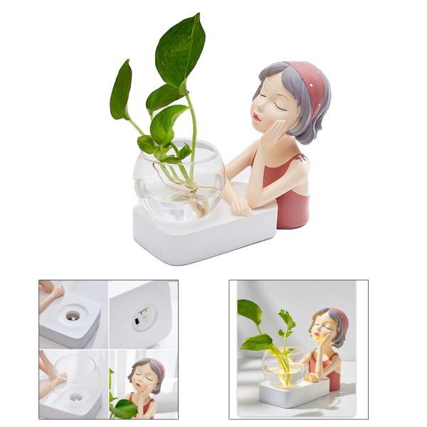 植物テラリウムLED置物ガラスプランター植物テラリウムピンク