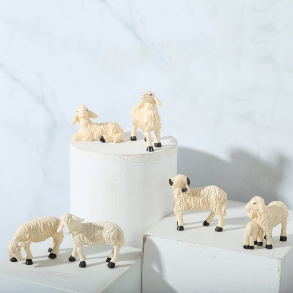 6ピース/セットミニ動物ドールハウスミニチュア羊置物マイクロ風景羊彫像飾りキットセットdiy.妖精の庭のドールハウスガラスボトル