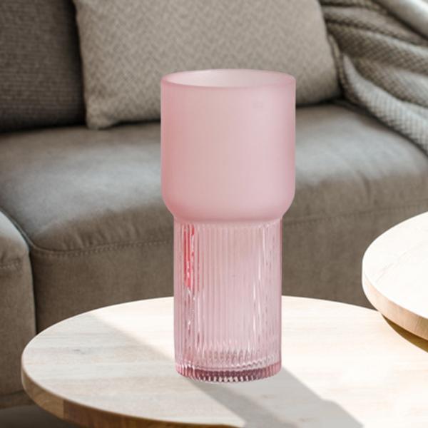 アートガラス花瓶テーブル植物コンテナホルダー結婚式の家の装飾ピンクスモールA