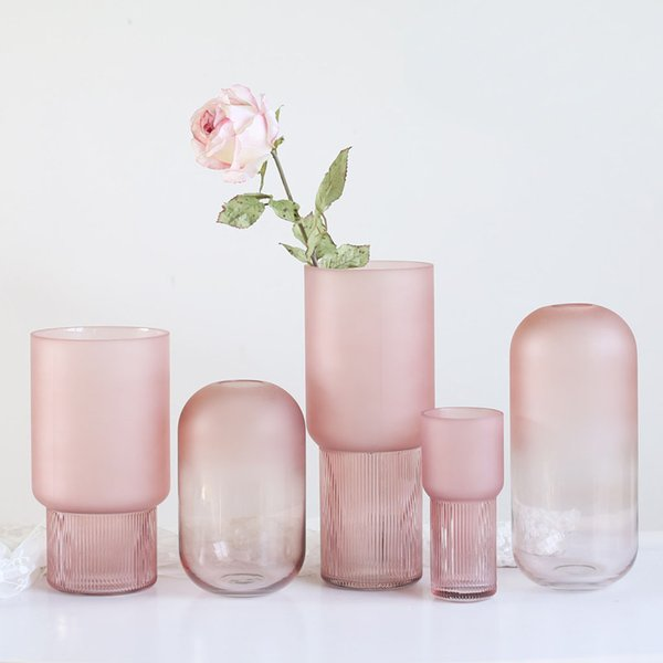 アートガラス花瓶テーブル植物コンテナホルダー結婚式の家の装飾ピンクラージB