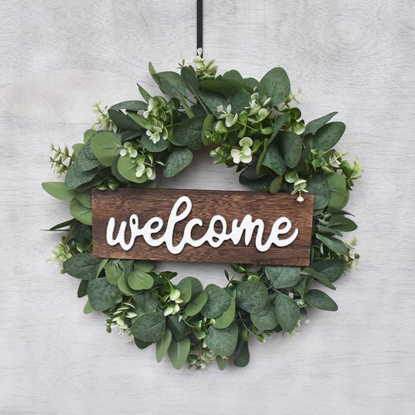 13インチグリーンユーカリ花輪フロントドア.手工芸木製フレームでシルク葉.春 & 夏装飾屋内 & 屋外での使用