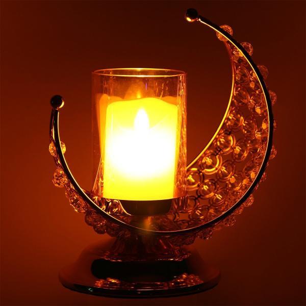 ラマダンキャンドルホルダームーン形状燭台キャンドルスタンドホルダーためイードムバラクダイニングルーム装飾ティーライト