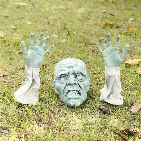 3個芝生ゾンビ手怖いハロウィンの装飾15センチメートル地面挿入ステーク庭不気味な家飾り