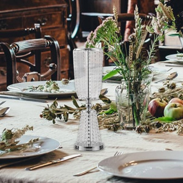 クリスタル燭台キャンドルホルダーテーパーピラーキャンドルホルダーテーブルセンターピースの装飾、結婚式のためのフラワーブーケスタンドホルダー