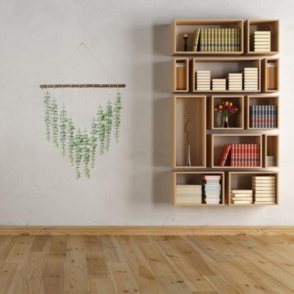 1ピースの人工ユーカリの緑が壁の装飾をぶら下げ人工ブドウの木16.5x13.7インチとフック