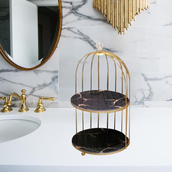 高級香水棚の皮を気にしているオーガナイザーケーキカップケーキを提供する化粧棚ブラック2層