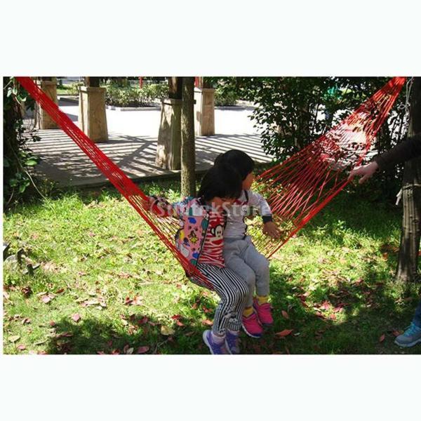 ナイロン ハンモック 吊り メッシュ 睡眠 ベッド 屋外 旅行 キャンプ 4色選べる - レッド