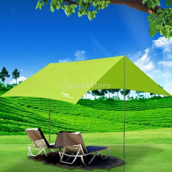 耐久性 屋外 キャンプ ビーチ 釣り オーニング トレイル タープ テント カバー テントポール 全5色 - グリーン