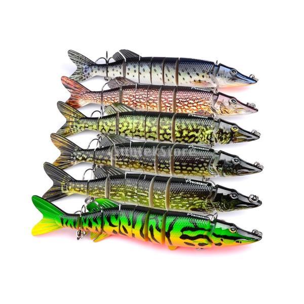 ノーブランド品  ABS樹脂 8セクション マルチ ジョイント 釣り ハード ベイト クランク ベイト ルアー  6色選べる - C