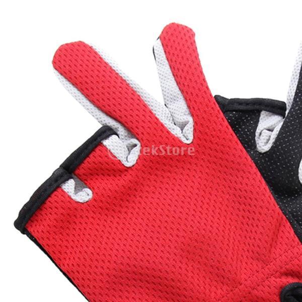 ノーブランド品 滑り止め 3ローカット フィンガー サイクリング 釣り グローブ 手袋 全5色選ぶ - レッド