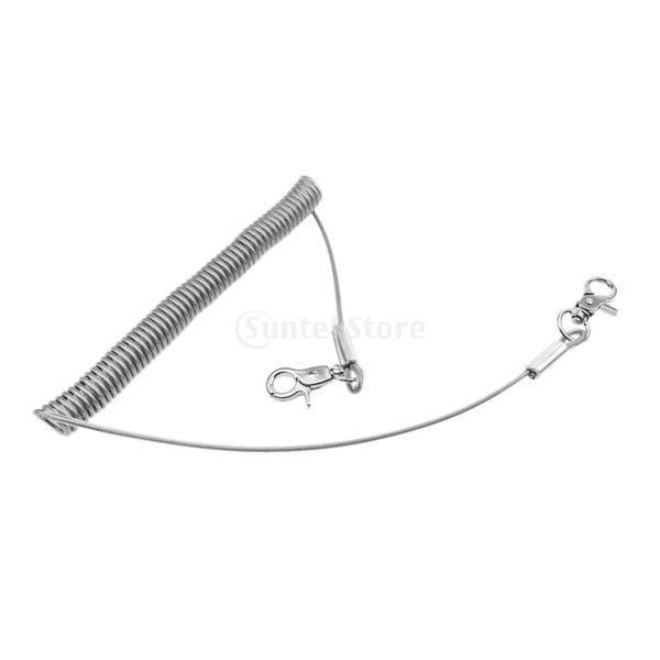 Dovewill スチールワイヤー 1.5m リトラクタブル 釣り ストラップ コイル状 テザー スイベル フック カラビナ 3サイズ選べ - 写真が示すように, 3m