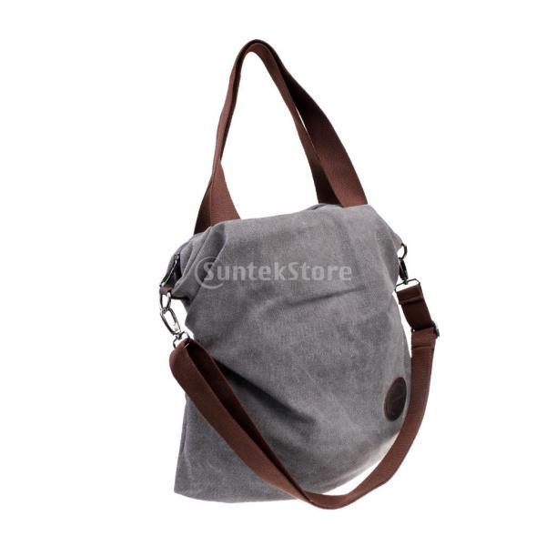 Lovoski 女性 大容量 多層 シンプル ショッピング キャンバス バッグ トートバッグ 鞄 全5色 - グレー