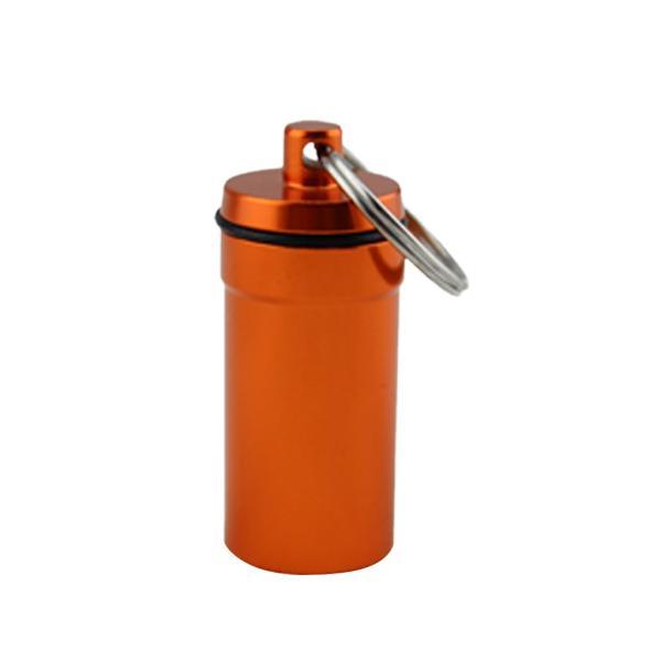 ノーブランド品 全6色 合金 気密 ピルボックス 錠剤ケース ホルダー 保存容器 カプセル ボトル キーホルダー - オレンジ