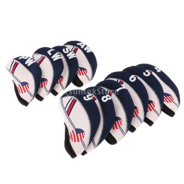 10個セット アメリカの旗パタン ネオプレン ゴルフクラブ アイアン ヘッドカバー|stk-shop|02
