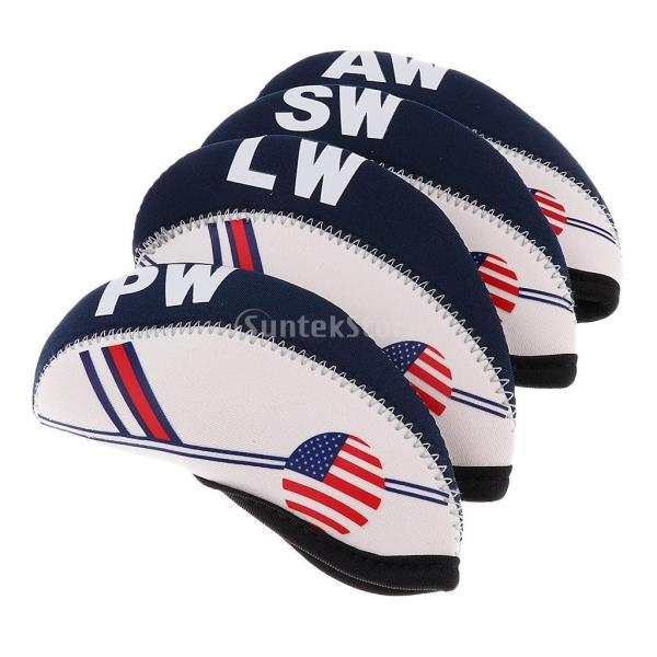 10個セット アメリカの旗パタン ネオプレン ゴルフクラブ アイアン ヘッドカバー|stk-shop|08