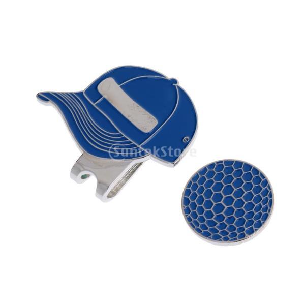 合金 帽子パタン ゴルフ ハットクリップ付 マグネット ボールマーカー グリーンマーカー 4色選べる - ブルー stk-shop 02