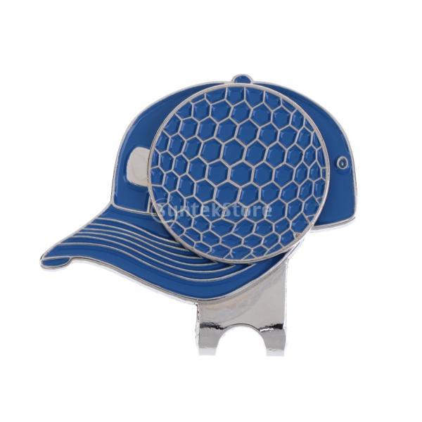 合金 帽子パタン ゴルフ ハットクリップ付 マグネット ボールマーカー グリーンマーカー 4色選べる - ブルー stk-shop 04