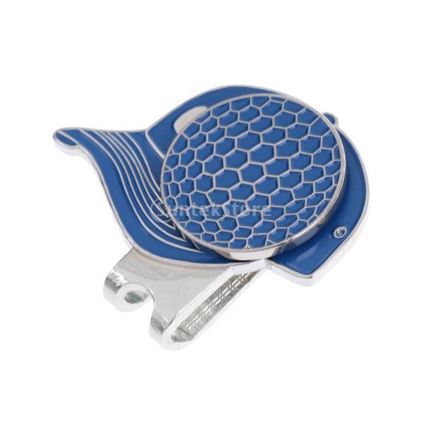 合金 帽子パタン ゴルフ ハットクリップ付 マグネット ボールマーカー グリーンマーカー 4色選べる - ブルー stk-shop 05