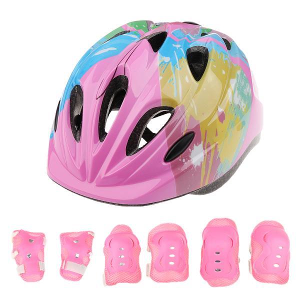 子供 キッズ プロテクター 7点セット 保護具 ヘルメット 肘、膝 手首パッド 耐衝撃性 快適 5〜15歳の子供に適し 3色選べる - ピンク|stk-shop