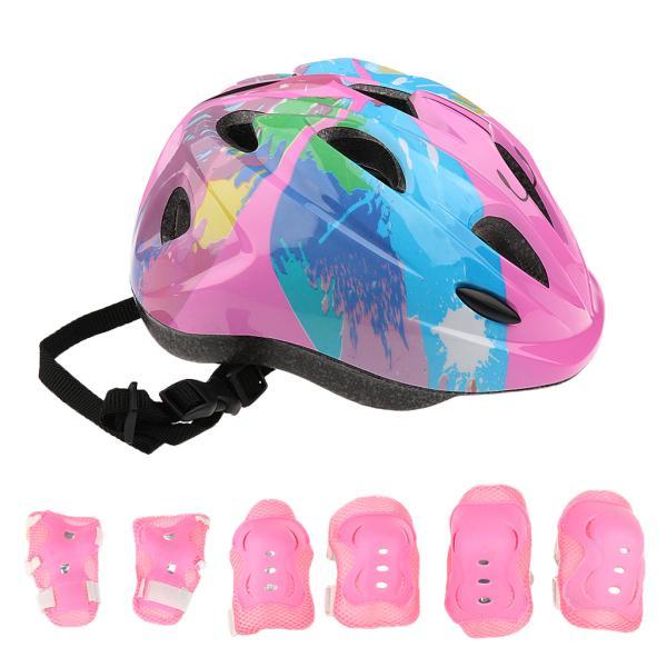 子供 キッズ プロテクター 7点セット 保護具 ヘルメット 肘、膝 手首パッド 耐衝撃性 快適 5〜15歳の子供に適し 3色選べる - ピンク|stk-shop|08