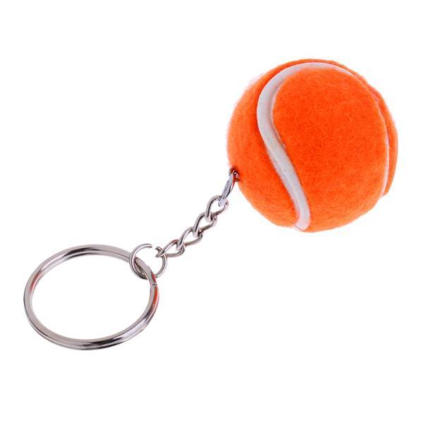 全3色選べ プラスチック製 実用装飾品 ミニテニスボール メタルキーリング 鍵飾り キーチェーン 贈り物 - オレンジ
