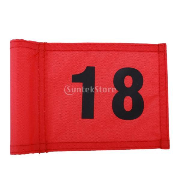 SunniMix Sサイズ ナイロン ゴルフ 旗 ゴルフ練習 耐裂性 全3色2番号 - 番号18のレッド, 18x12 cm|stk-shop