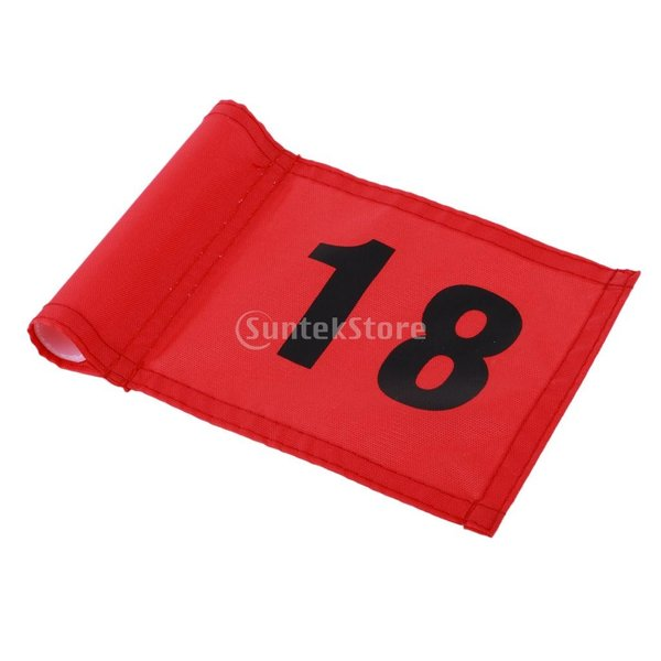 SunniMix Sサイズ ナイロン ゴルフ 旗 ゴルフ練習 耐裂性 全3色2番号 - 番号18のレッド, 18x12 cm|stk-shop|02