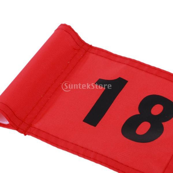 SunniMix Sサイズ ナイロン ゴルフ 旗 ゴルフ練習 耐裂性 全3色2番号 - 番号18のレッド, 18x12 cm|stk-shop|03