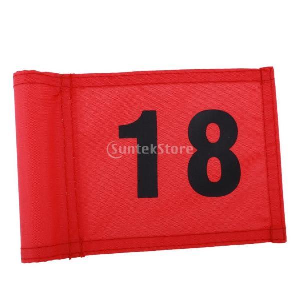 SunniMix Sサイズ ナイロン ゴルフ 旗 ゴルフ練習 耐裂性 全3色2番号 - 番号18のレッド, 18x12 cm|stk-shop|05