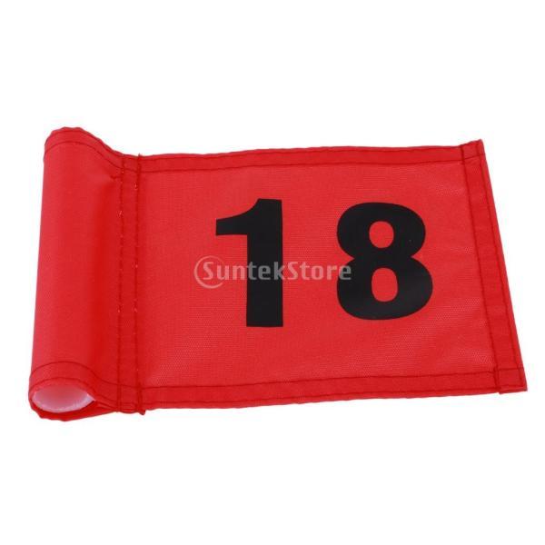 SunniMix Sサイズ ナイロン ゴルフ 旗 ゴルフ練習 耐裂性 全3色2番号 - 番号18のレッド, 18x12 cm|stk-shop|06