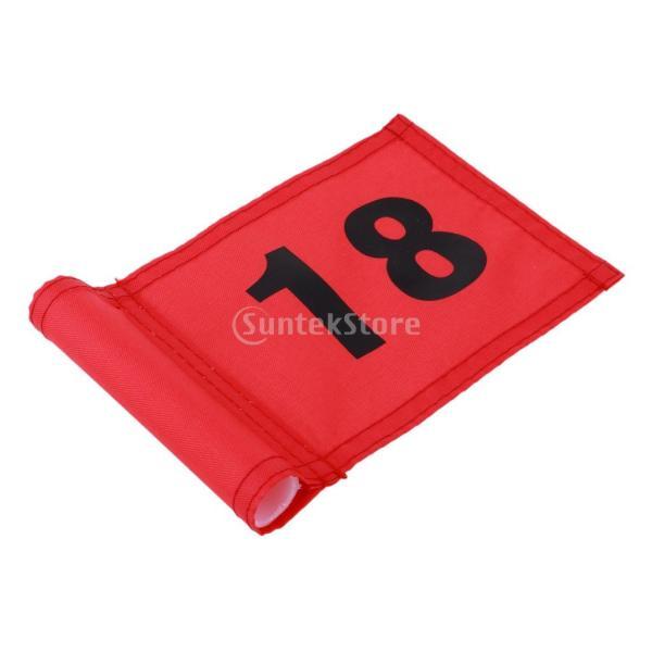 SunniMix Sサイズ ナイロン ゴルフ 旗 ゴルフ練習 耐裂性 全3色2番号 - 番号18のレッド, 18x12 cm|stk-shop|07