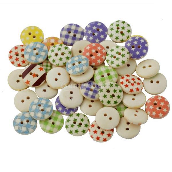 Lovoski DIY 手芸用 クラフト 手作り ラウンド 2穴 木製 縫製 ボタン アクセサリー 工芸品 約100個 混合色