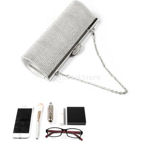 ノーブランド品 女性 水晶 夜 ハンドバッグ ラインストーン パーティー 財布 チェーンバッグ 全3色 - シルバー