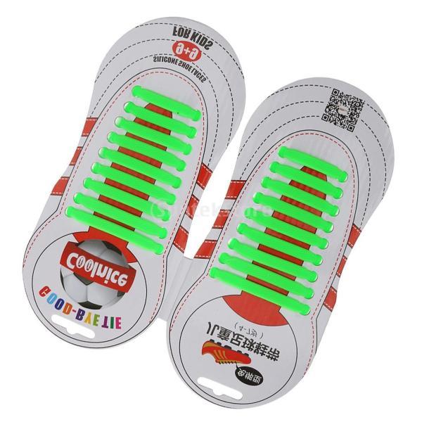 GRALARA ノーブランド品 ノーネクタイ 弾性 結ばない シリコーン 子供 靴ひも 靴紐 サッカー シューズ 全6色 - グリーン