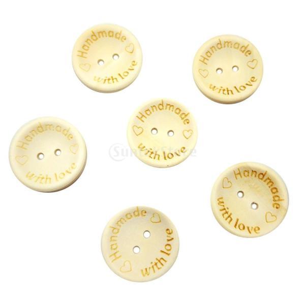 100枚 木製 ボタン 手作り 裁縫 装飾 手芸用 DIY アクセサリー 原色 全3タイプ - 丸