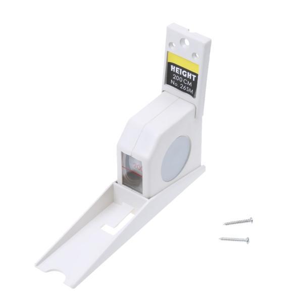 [ノーブランド 品]自動伸縮 測定 テープ ルーラー 定規 身長を測定 ツール 身長計 固定可能 2m 全2色 - 白 2M