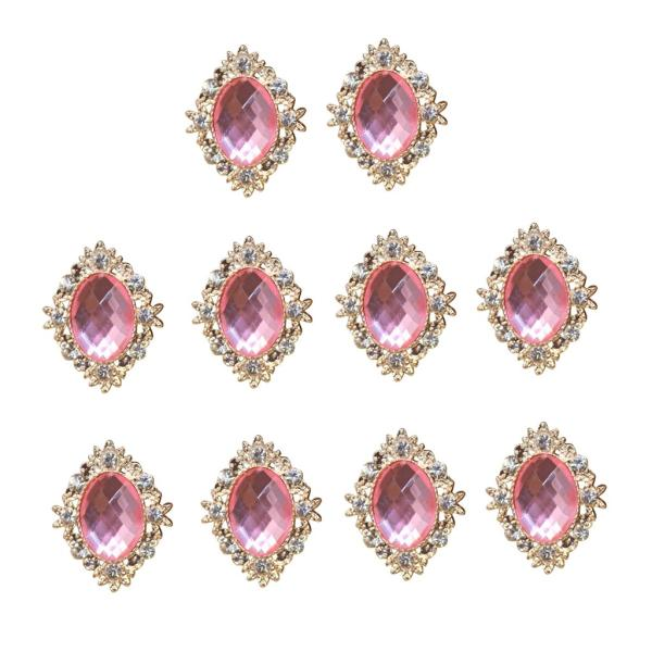 10個入り ラインストーン カボション 服 バッグ 携帯電話ケース 飾り アクセサリー ビーズ 全20色 - ピンク
