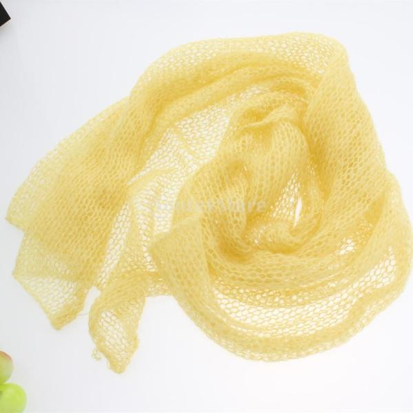 Dovewill 赤ちゃん モヘア かぎ針編み ニット ラップ 毛布 小道具 伸縮性 12色選べる - 黄色