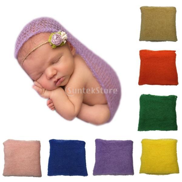 ノーブランド品  赤ちゃん 伸縮性 モヘア かぎ針編み ニット ラップ 毛布 出産お祝い ベビーシャワー 写真記念 撮影 小道具 全6色 - 緑